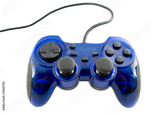 poster of blue video game controller detail for console