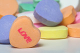 Conversation hearts Valentines day candy. Concept of love. poster