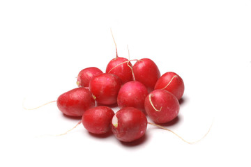 bunch of radishes on the white background