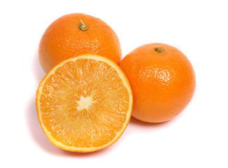 two and half of oranges on the white background