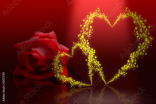 Shinny golden valentine heart with tiny stars on red background