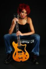 African American Guitar Girl