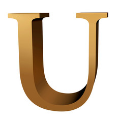 Capital letter U in gold leaf for starting paargraphs