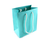 Powder blue paper gift bag with rope handles. poster