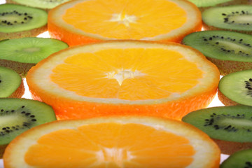 Orange and kiwi slices background