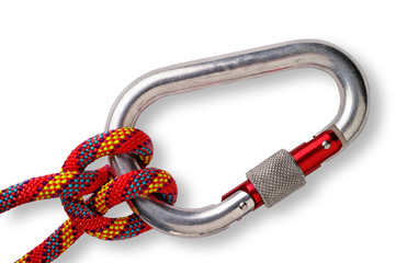 Mountaineering: clove hitch on locking or safety aluminium carab