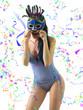 beautiful brunette with blue-sky lingerie  blue carnival mask
