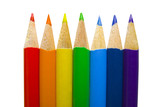 Coloured pencils arranged in rainbow spectrum order poster