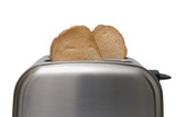 Toast popping out of a stainless steel toaster  poster