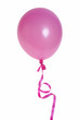 Pink balloon with ribbon isolated on white background