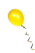 Yellow balloon with ribbon isolated on white background