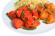 Chicken tikka curry with Bombay aloo and special pilau rice