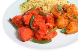 Chicken tikka curry with Bombay aloo and special pilau rice poster