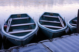 Rowing boats frozen into the pond in the winter
