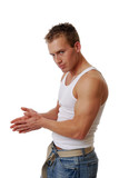A muscular man rubbing his hands together poster