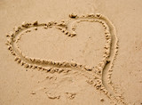 a love heart drawn in the sand at the beach poster