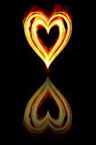heart on fire to symbolise burning passion and love poster