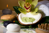 Avocado coconut scrub in coconut shell, orchid flower  poster