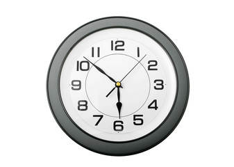 grey and white with black numbers wall clock