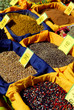 Assorted spices for sale on french farmers market