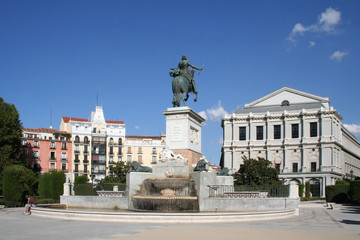 Oriente square with monument and opera-house in Madrid, Spain.