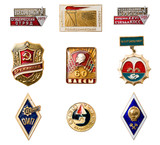USSR badges and orders. Isolated on white. poster