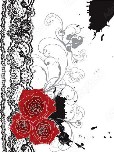 valentine red roses and lace swirl