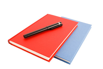two notebooks with black marker isolated on a white background
