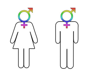 Male and female figures with transgender symbols