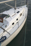 berthed white yacht, close up.