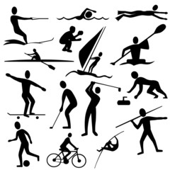 sports silhouettes - kayaking, golf, cycling, curling, swimming