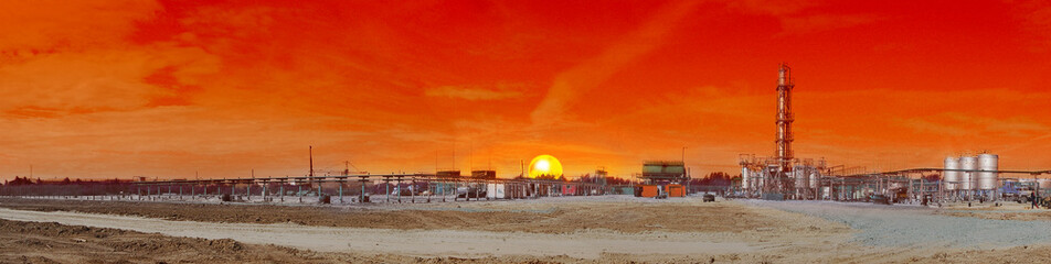 industrial view, red skies