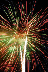 Colorful fireworks in red, green, blue