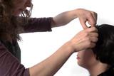 Hair dresser artist working on hair poster