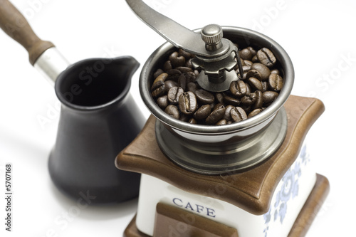 Coffee grinder and turkish coffee pot