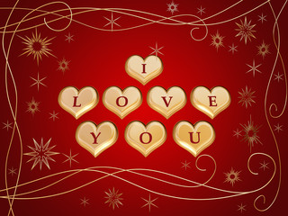 3d golden hearts, red letters, text - I love you, stars