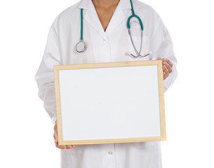 anonymous doctor whit billboard a over white background