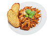 Penne pasta with chicken ina tomato sauce with garlic bread