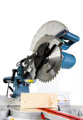 Mitre Saw in White Background and Crosscut Timber