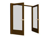 3D open doors brown color, with transparent glasses poster