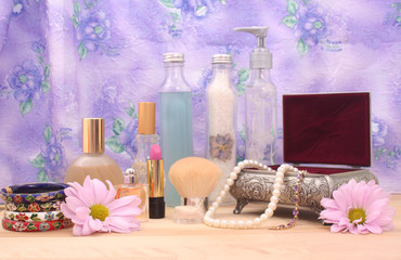 Cosmetics and Jewelry With Perfume