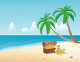Pirate treasure on a tropical beach with palm trees poster