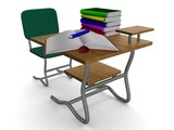 School desk with textbooks and a pencil. 3D image. poster