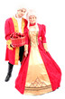 royal queen and king in masquerade ball attire with red