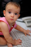 New computer generation - Baby typing . poster