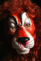 scary Halloween like monster lion mask with real eyes