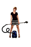 girl with a vacuum cleaner poster