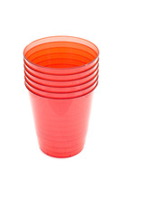 object on white - kitchen utensil - plastic cups