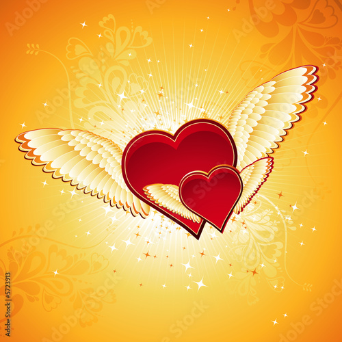two lovely red heart on golden background with wings, vector