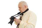 press photographer, paparazzi, isolated on white poster